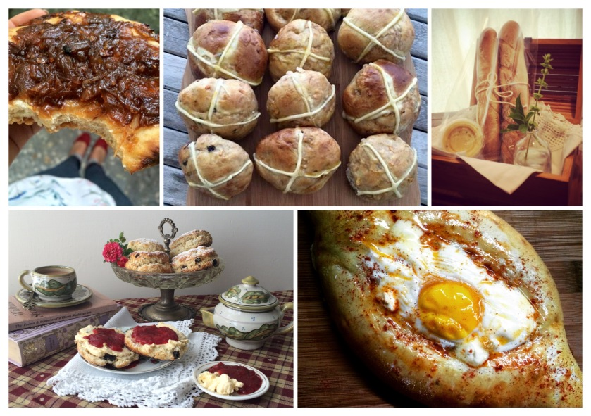 Caramelised Onion focaccia; Hotcross Buns; Mini Baguettes with Garlic Butter; Cream Tea; Scone & bag of Earl Grey; Khachapuri
