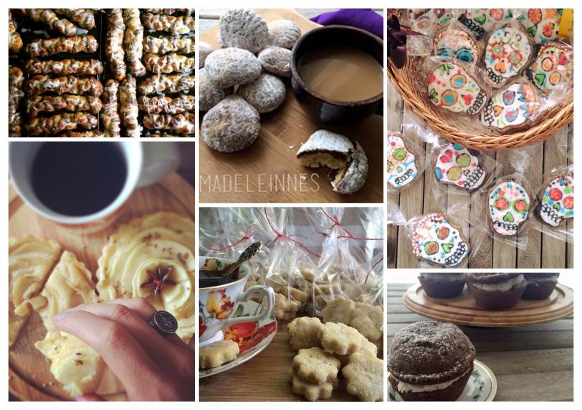 Challahs, Madeleines, Sugarskull-Gingerbread Cookies, Apple Tartles, Shortbread, Whoopi pies