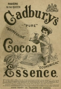 Advert for Cadbury's Cocoa Essence on the back cover of a children's book Pussy Cat Purr. Parker collection, 1883